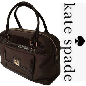 kate spade - Brown Patent Leather & Nylon Satchel
